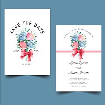 Современные свадебные приглашения с букетом цветов акварелью