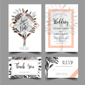 Modern wedding invitations with grayscale watercolor