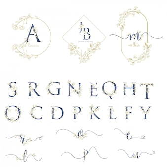 Modern wedding logo with alphabet