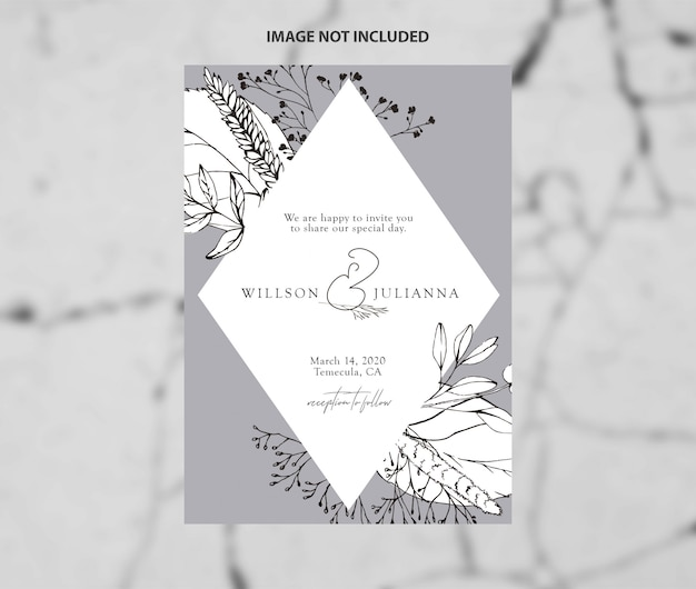 Modern wedding save the date black and white branches vector template