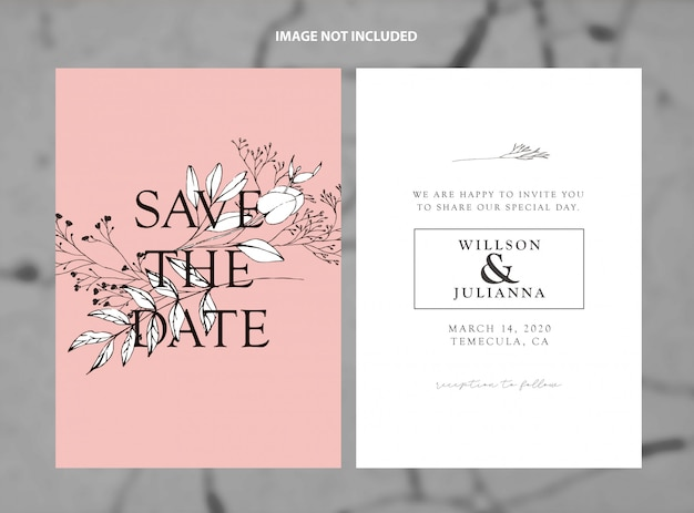 Modern wedding save the date living coral branches vector template