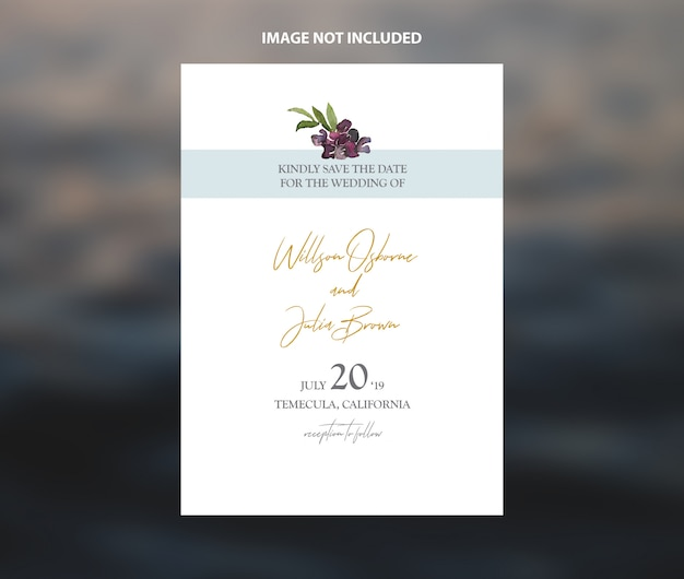 Modern wedding save the date watercolor foliage vector template