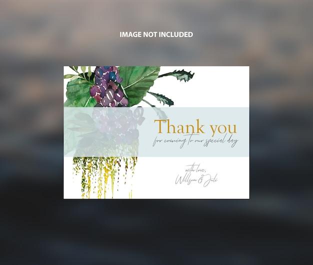 Modern wedding thank you card watercolor foliage vector template