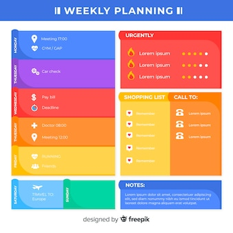 Modern weekly planner template with flat design