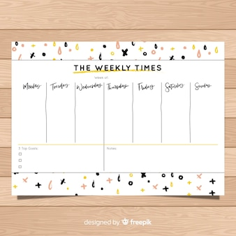 Modern weekly schedule template with geometric shapes