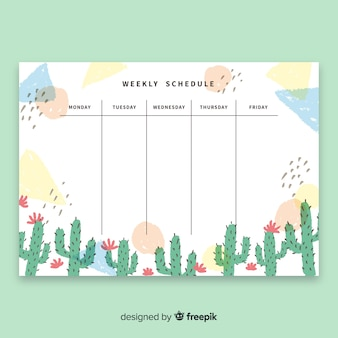 Modern weekly schedule template with watercolor cactus