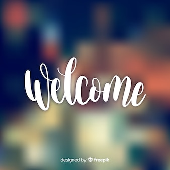 Modern welcome composition with blurred effect