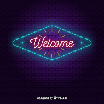 Modern welcome sign post with neon light style