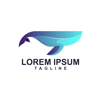 Modern whale logo premium