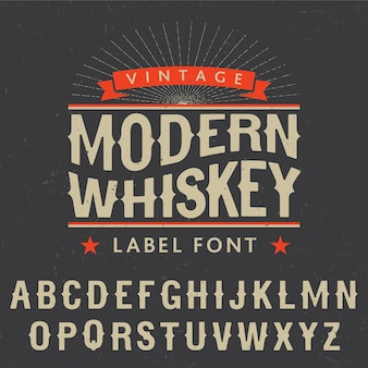 Modern whiskey label font poster with decoration and stars on black illustration