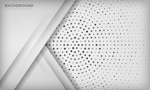 Modern white abstract background with overlap layer on circle halftone texture.