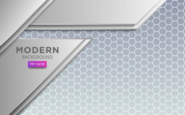 Modern white abstract vector with line in hexagon texture.