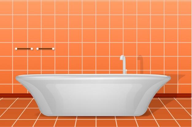 Modern white bathtub concept , realistic style