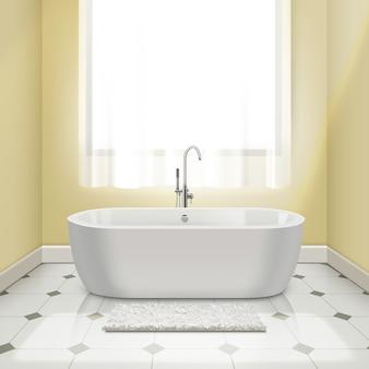 お風呂のインテリアイラストでモダンな白いバスタブ