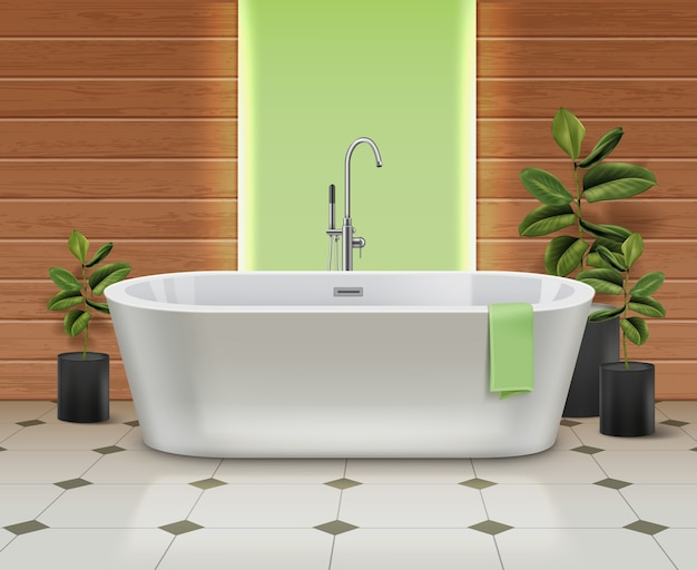Modern white bathtub in interior. bath with green towel on tiled floor with plants in black pots on wooden walls background