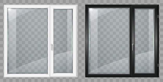 Modern white and black plastic wide window