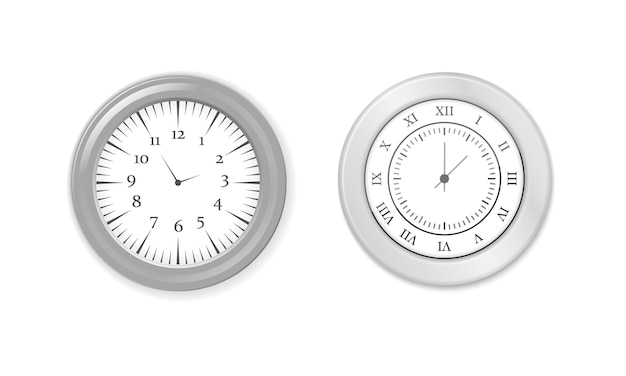 モダンな白、黒の丸い壁時計、黒の時計の文字盤、タイムウォッチのモックアップ。白と黒の壁のオフィスの時計アイコンを設定します。ブランディングと広告のモックアップ。