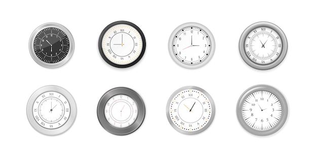 モダンな白、黒の丸い壁掛け時計、黒の文字盤と時計のモックアップ。白と黒の壁のオフィスの時計のアイコンを設定します。ブランディングと広告のモックアップ。