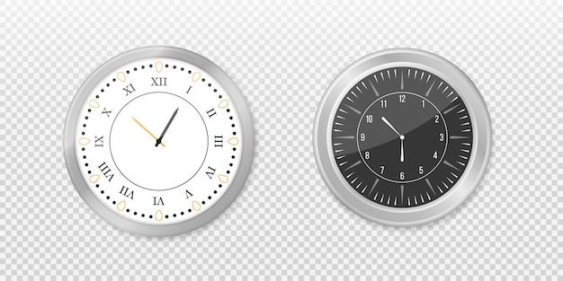 Современные белые, черные круглые настенные часы, черный циферблат и макет часов. белый и черный настенный значок часов офиса установлен.