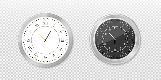 Modern white, black round wall clocks, black watch face and time watch mockup. white and black wall office clock icon set.