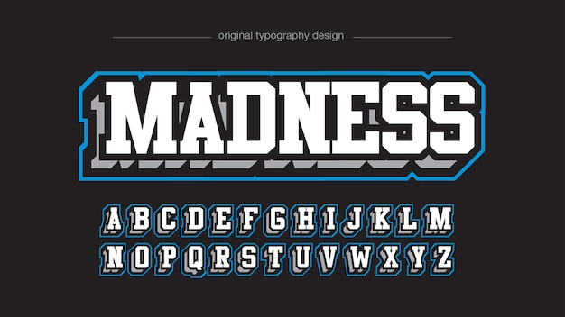 Modern white and blue 3d varsity typography style Premium Vector