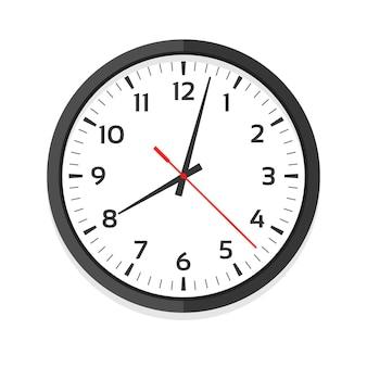 Modern white clock. office clock with numerals. ten oclock.