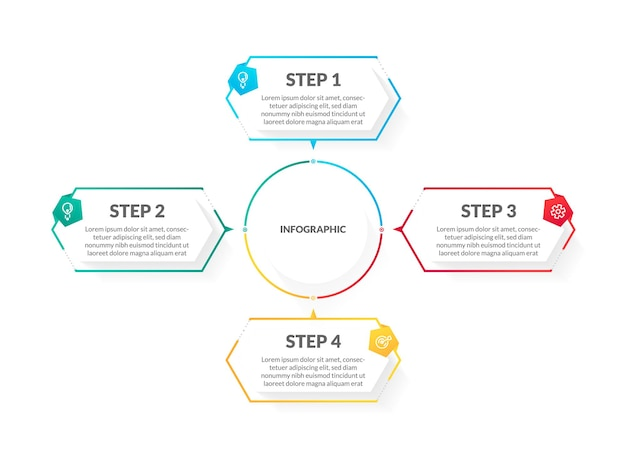 Modern white colorful 4 step timeline infographic. perfect for presentation, process diagram, workflow, and banner