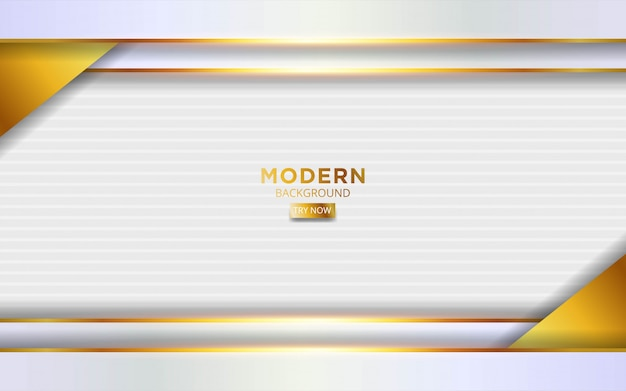 Modern white and god twitch background  with golden lines