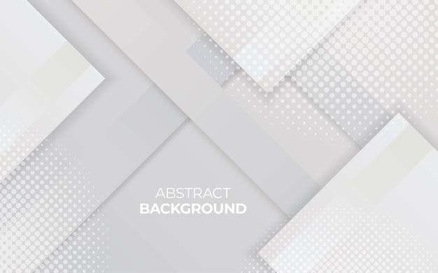 Modern white halftone geometric paper effect vector background