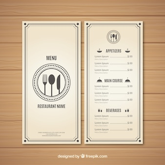Modern white menu design
