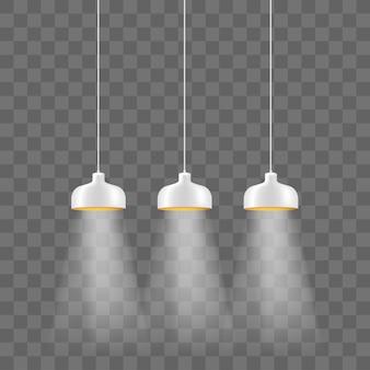 현대적인 흰색 금속 램프 그늘 전기 조명 세트