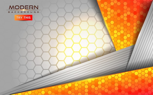 Modern white and orange abstract background with shiny lines effect