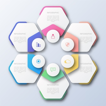 Modern white paper business infographic template