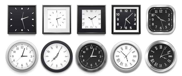Modern white round wall clocks, black watch face and time watch mockup.