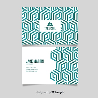Modern white visiting card template with green lines
