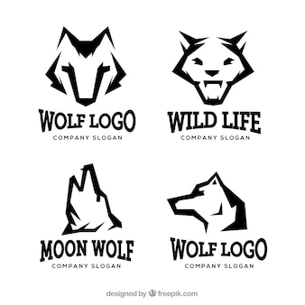 Modern wild wolf logo collection