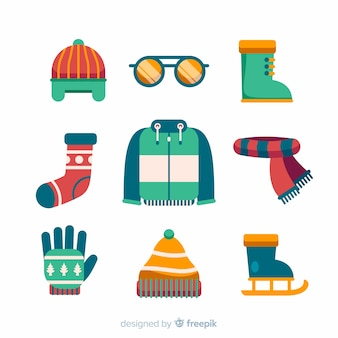 Modern winter clothes collection with flat design