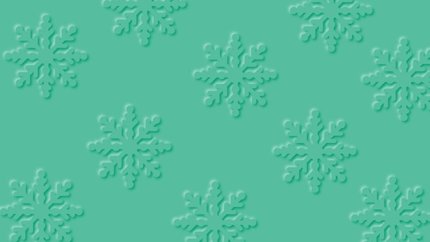 Modern winter green background with paper cut snowfall