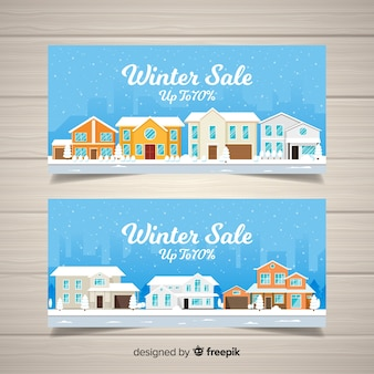 Modern winter sale banners