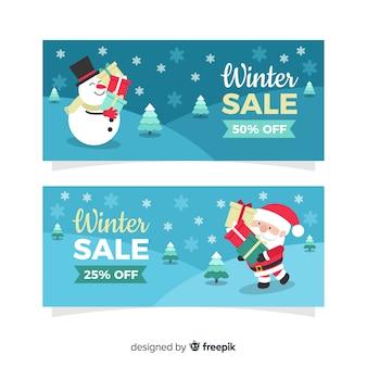Modern winter sale banners