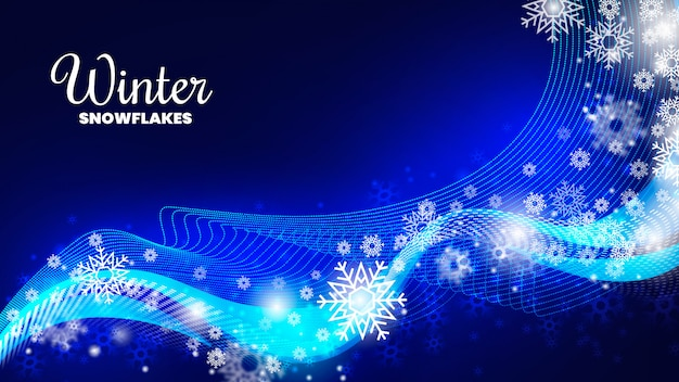 Modern winter snowflakes background