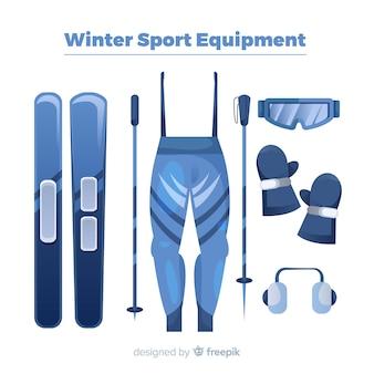 Modern winter sport equipment with flat design