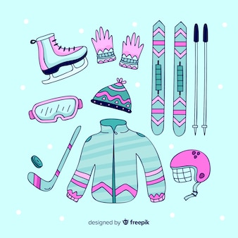 Modern winter sport equipment with flat design