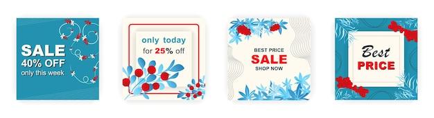 Современные шаблоны плакатов распродажи зимней площади в социальных сетях с цветочным и геометрическим узором