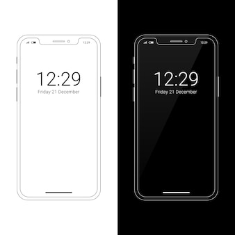Modern wireframe smartphone mockup with notch display
