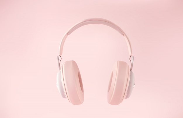 Modern wireless 3d headphones on pastel color background.