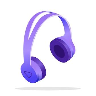 Modern wireless headphones isometric illustration