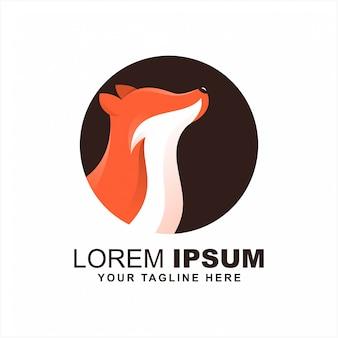 Modern wolf fox logo design idea vector