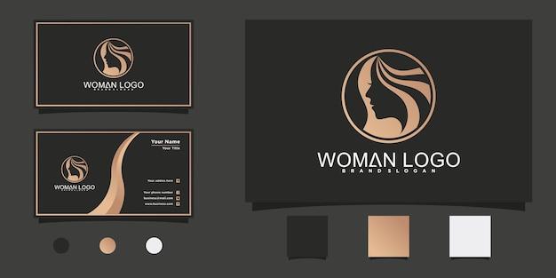 멋진 원형 라인 아트 스타일과 명함 디자인이 있는 현대적인 여성 미용실 로고 프리미엄 벡터
