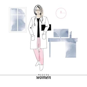 現代の女性の職業医師のベクトル図です。スケッチと水彩イラスト。